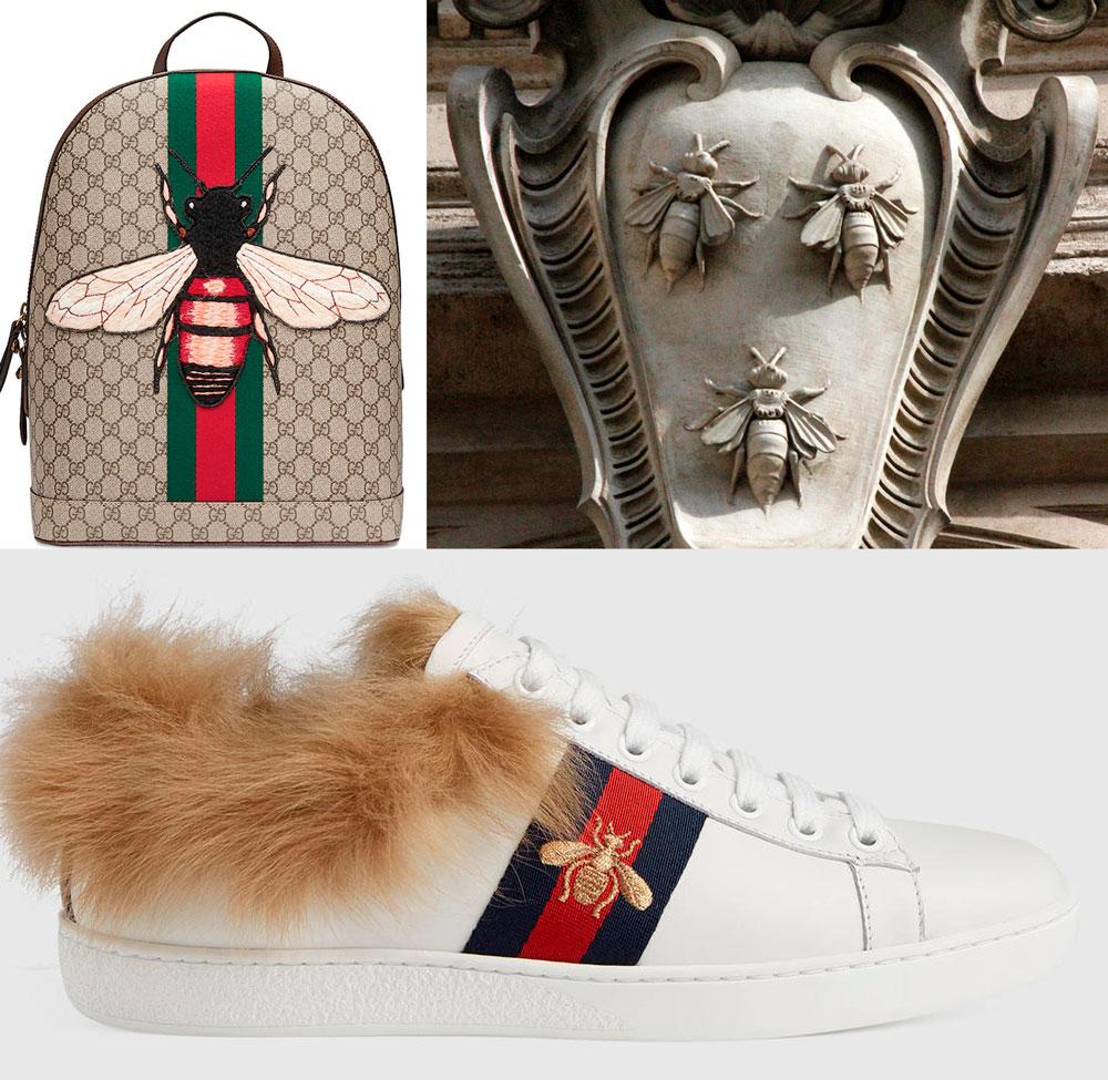 Mochila y zapatilla Gucci con abeja bordada y escudo de armas de la familia Barberini.